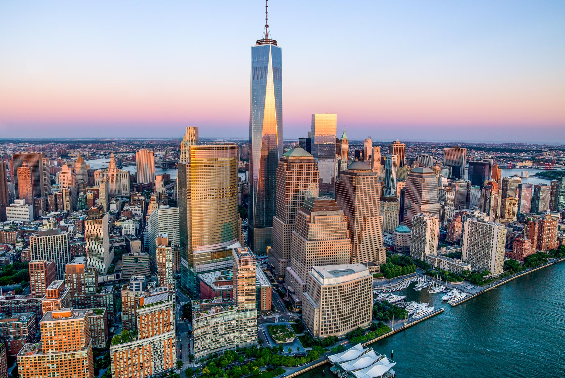 Freedom Tower Manhattan aerial photography