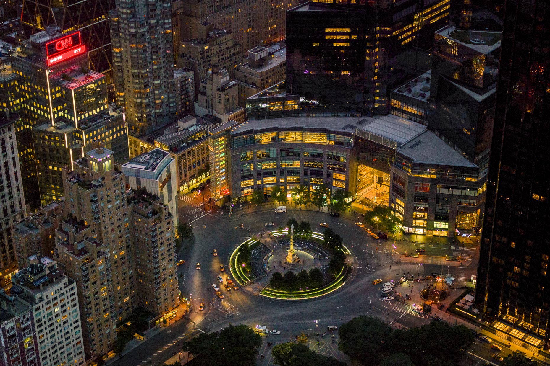 Columbus Circle.  New York City aerial photography by Stefen Turner