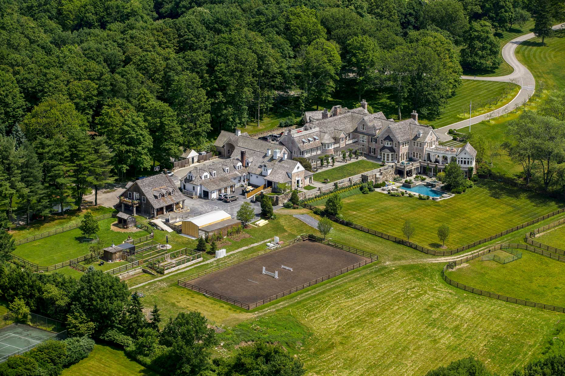 Equestrian Estate in Bedford NY aerial photography by Stefen Turner