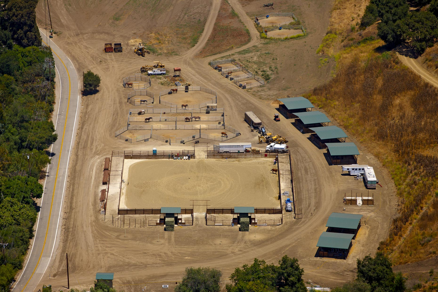 Aerial photography of Equestrian Setting in California