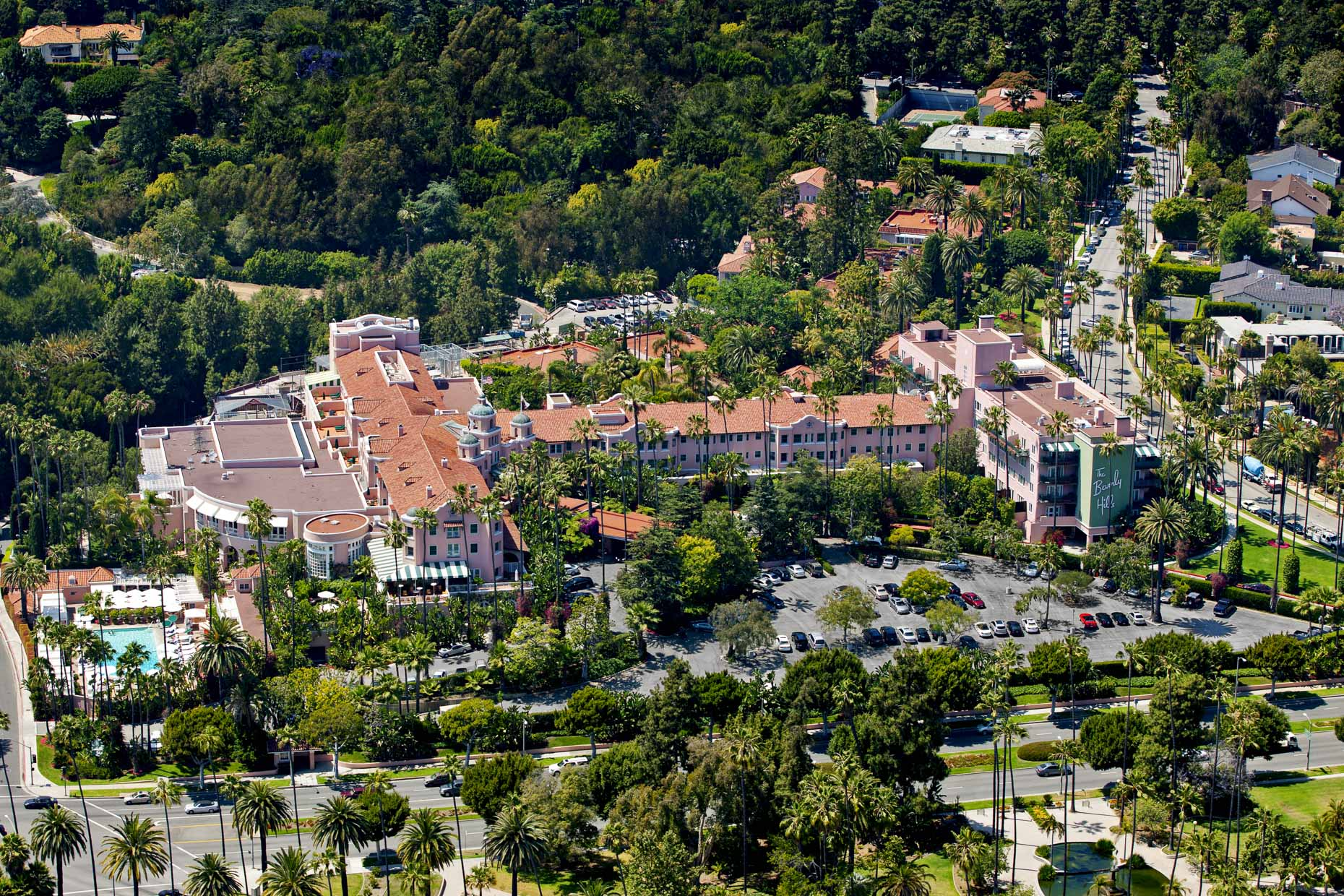 Bevery Hills Hotel Los Angeles aerial photography