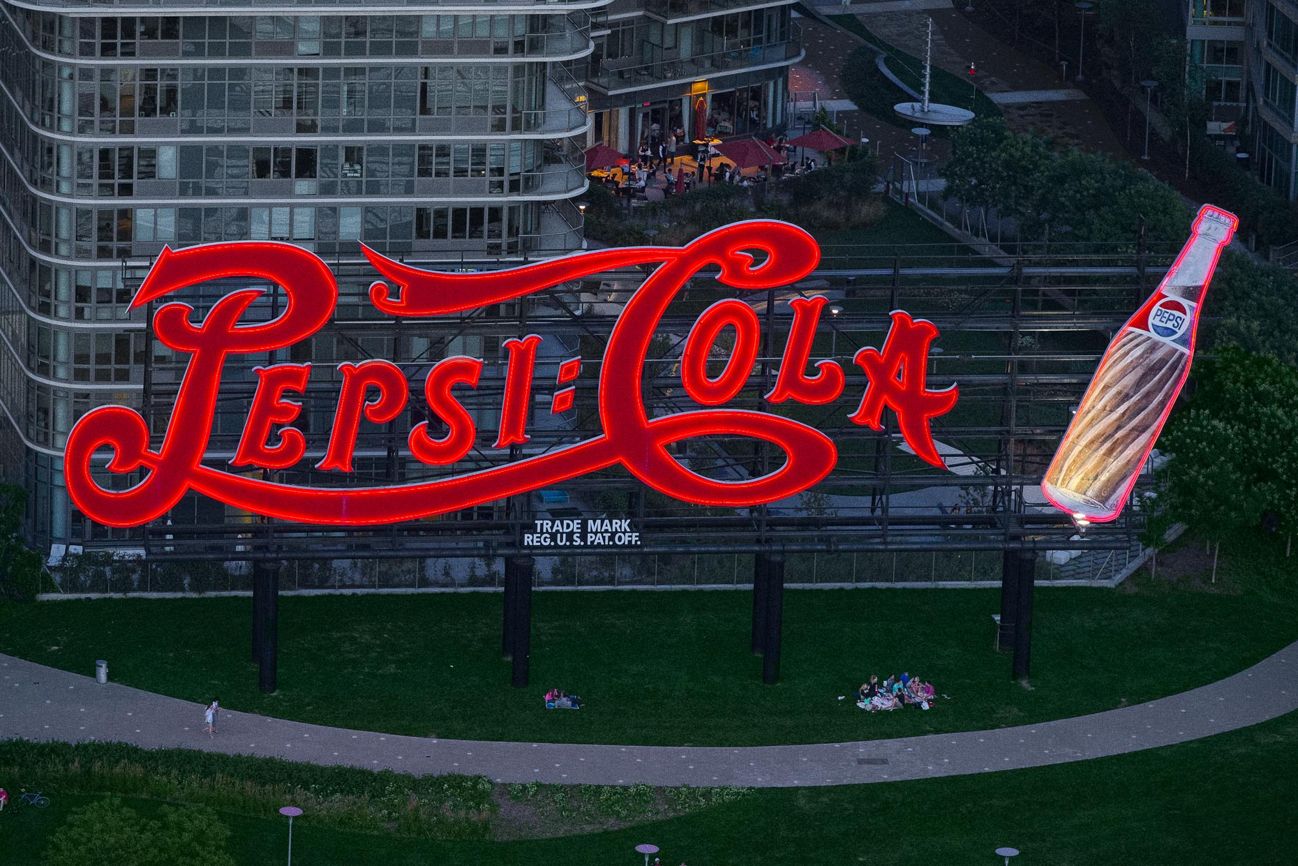 Pepsi-Cola Sign in Queens | aerial photography by Stefen Turner