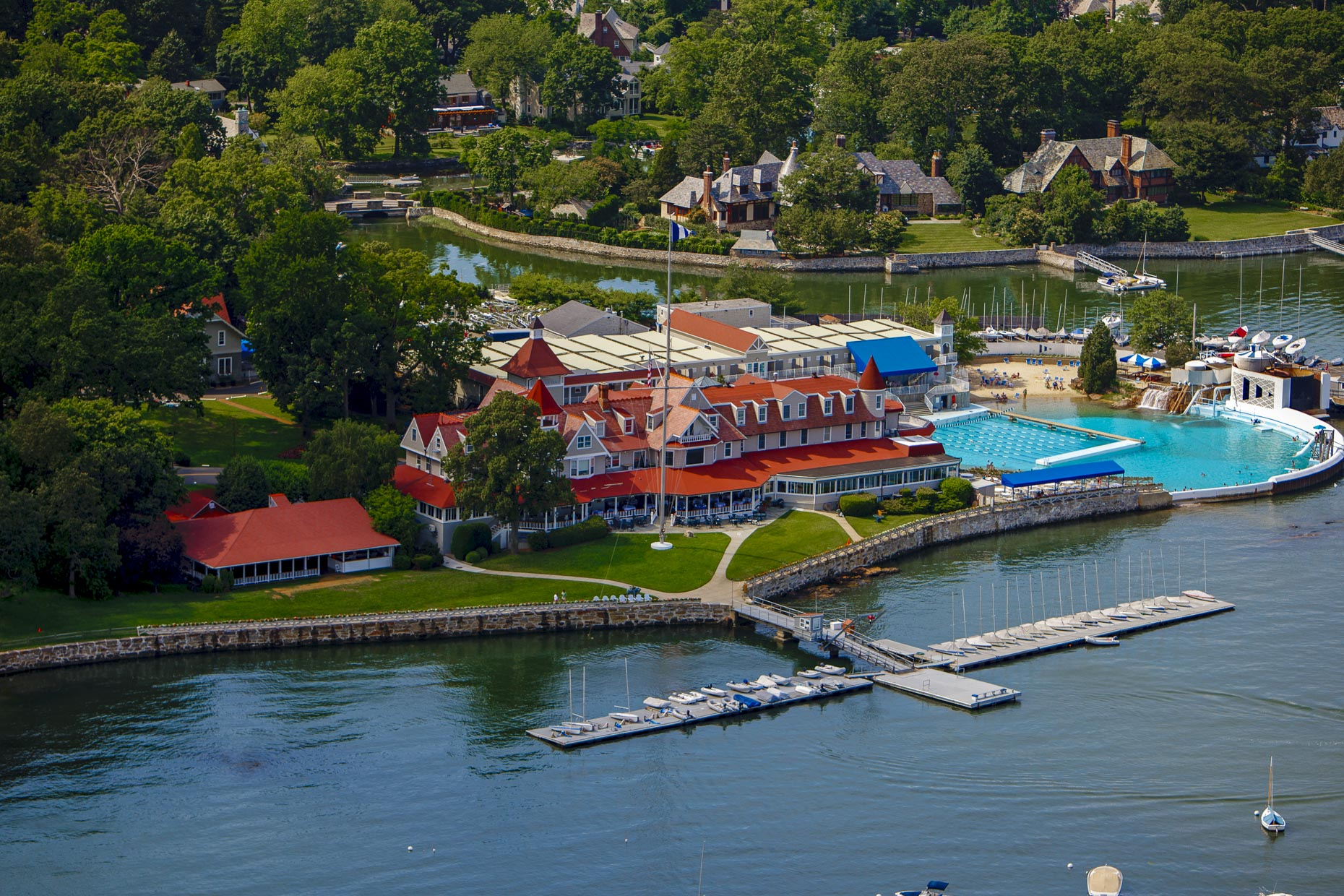 Larchmont Yacht Club  Larchmont NY aerial photography